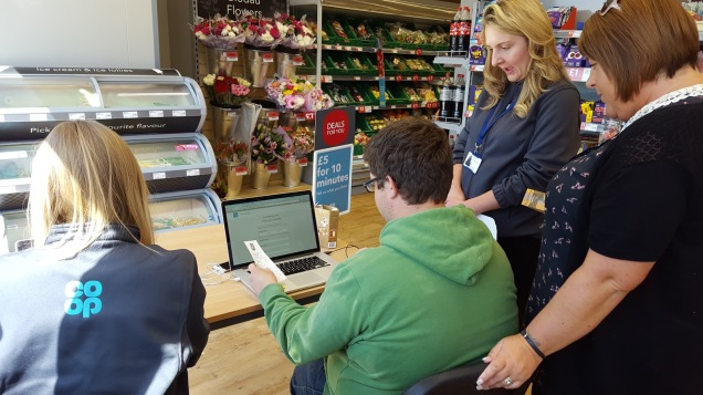 Picture of Co-op team members carry out user research in Ewloe's Co-op