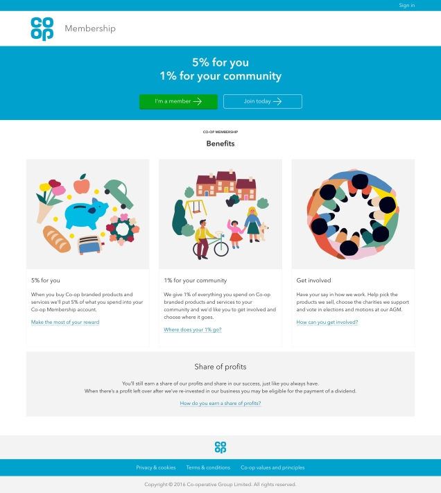 Picture of the new Co-op Membership landing page.
