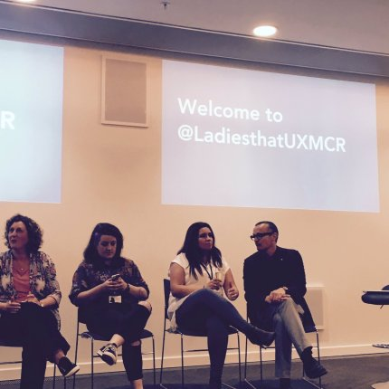 Picture of the panel at the recent Ladies that UX event held at 1 Angel Square