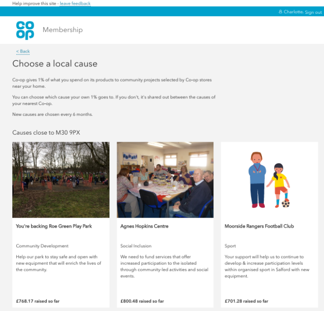 Screen shot of the local causes areas of our website