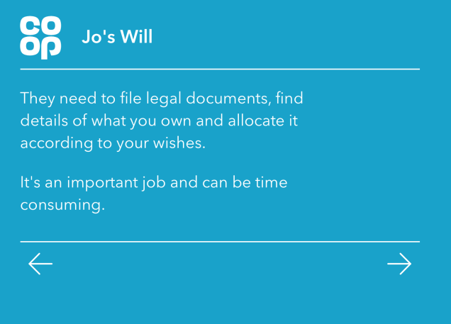 Screen shot of part of the wills digital service