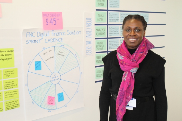 photograph of Annette Joseph posing at whiteboard.