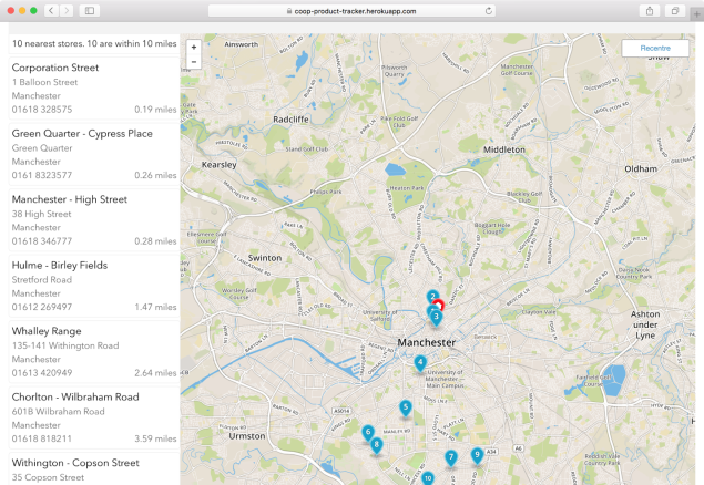 Screen shot of the Product Range Finder. A map view of stores that stock a chosen product