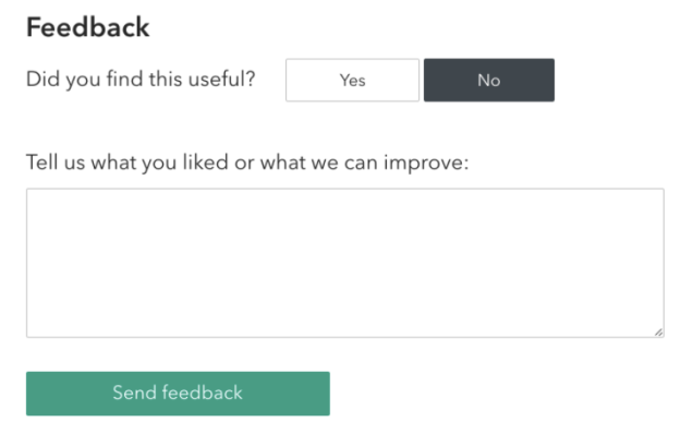 Feedback prompt on each page asks site visitors to tell us what they liked or what we can improve'