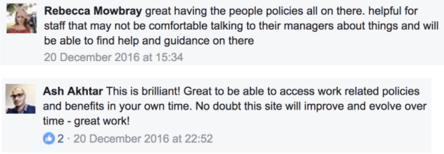 Written feedback from two colleagues in our Facebook group.