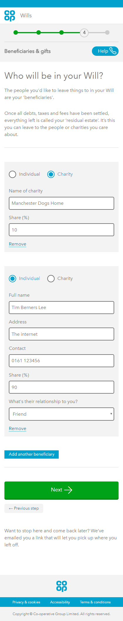 Screenshot of an earlier iteration of the service. Instead of 'nesting', the user sees all the questions at the same time including details about options that aren't relevant to them.