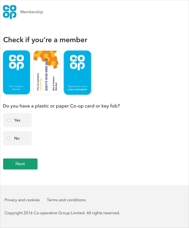 screen shot of the 'check if you're a member' page showing the three types of membership card
