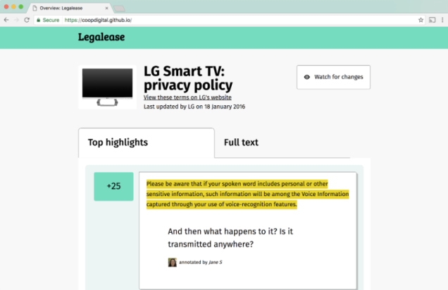 Shows a screenshot of Legalease prototype. The page shows an LG smart TV and highlights some of the T&Cs. Eg, 'please be aware that if your spoken word includes personal or other sensitive info, it will be captured if you use voice-recognition features'. Page shows someone's comment below: 'and then what happens to it? is it transmitted anywhere?'