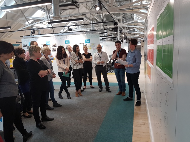 group of colleagues from across the Co-op and ustwo gathered around whiteboards to hear the feedback on the 14 potential alphas.