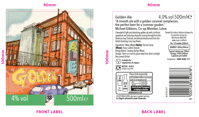 image shows the The Golden Ale label with member's tasting notes: 'A smooth ale with a golden caramel complexion, the perfect beer for a summer garden.'