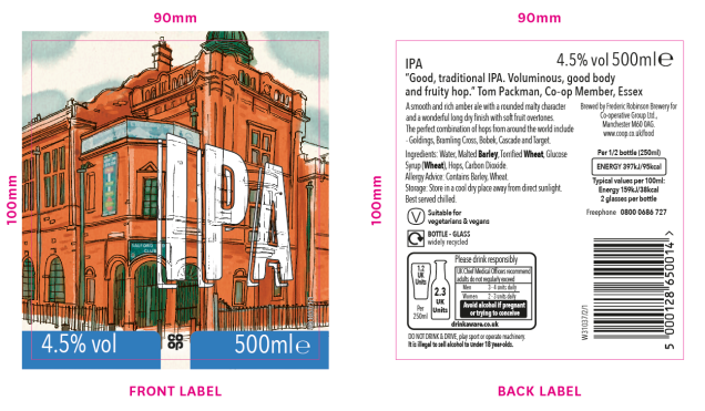image shows IPA label with tasting notes: 'Good, traditional IPA. Voluminous, good body and fruity hop.'