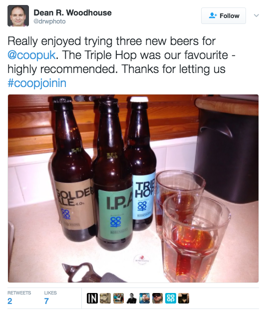 image of tweet which includes a twitter picture. tweet says: 'really enjoyed trying three new beers for @coopuk. the triple hop was our favourite - highly recommended. Thanks for letting us #coopjoinin'