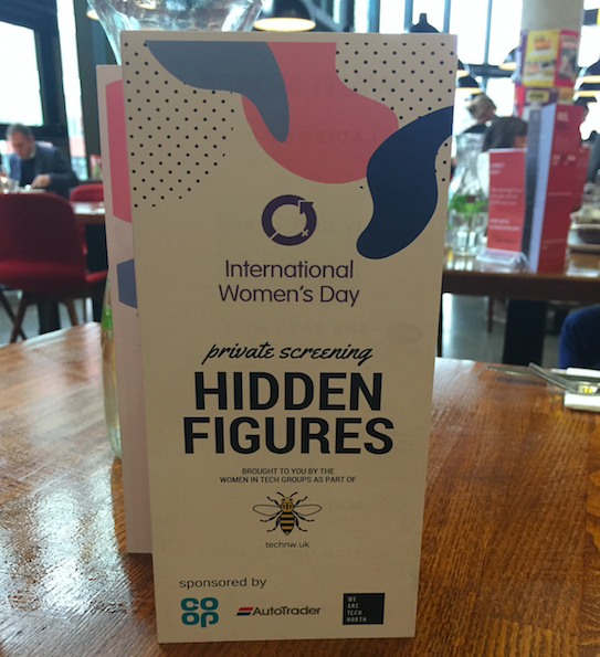 image shows the leaflet we gave away at the screening. The text on the front says: 'International Women's Day private screening Hidden Figures. Sponsored by Co-op, Autotrader, Tech North'
