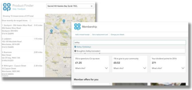 image show two overlapping screenshots from product finder and a prototype form the membership team. both use the location services API