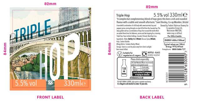 image shows The Triple Hop label and tasting notes:'A complex but complementary blend of hops gives this beer a rich and rounded flavour with a subtle and smooth aftertaste'