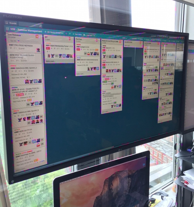 Photograph of the Trello board on a big screen in the office.