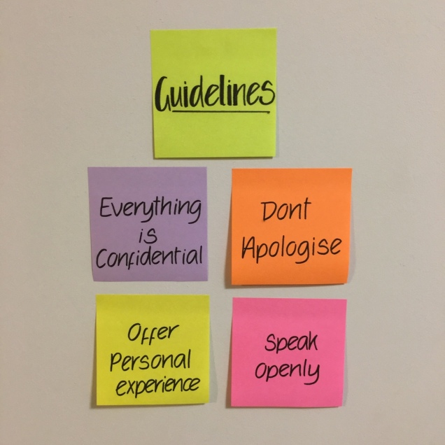 "Photograph shows 5 post it notes. 1 says ""guidelines"" the other 4 have one guideline on each."