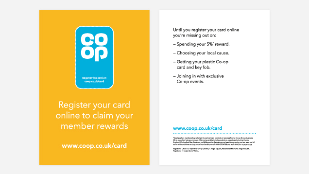 Image shows front and back of flyer. Front says: Register your card online to claim your member rewards. Back lists things that members are missing out on if they haven't registered their cards online.