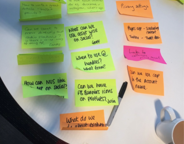 Photograph of a table with post it notes with notes from member pioneers written on them. Notes include: 'when to use @ handles' 'can we use co-op in the account name' and 'what can we use asset wise on social?'