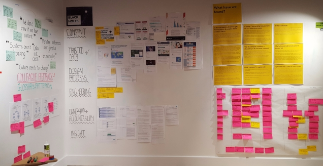 photograph of walls in the data layer team area showing what the team had found by the end of the discovery