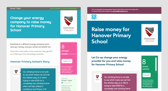 Homepage before when the focus was on saving money and after, when the focus is on raising money for a school
