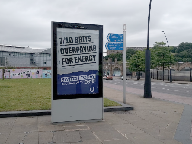 Photograph in Sheffield of a billboard that says: 7/10 brits overpaying for energy. Switch today and save up to £618