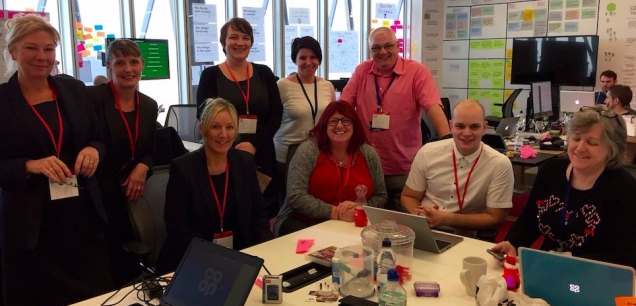 Some of our Edinburgh Funeralcare colleagues in our Angel Square office helping us improve the digital service. Jamie Rafferty is second from the right.