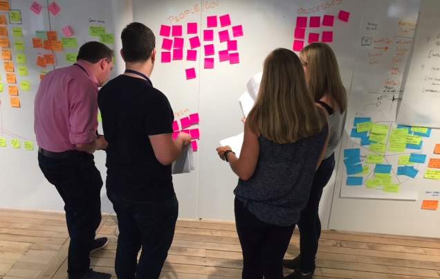 photograph of 4 members of the team gathered around post-its on the team wall going through the things we've learnt from user research