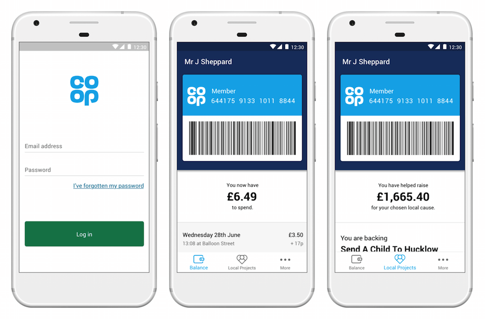 Image shows three phone screens to show each thing the app can do. from left to right the first shows a log in page, the second shows a rewards balance and the third shows the total for the chosen local cause