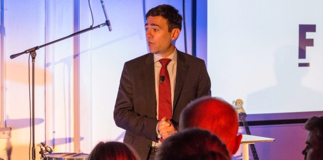 Photograph of Mayor Andy Burnham on stage speaking at Th Federation launch