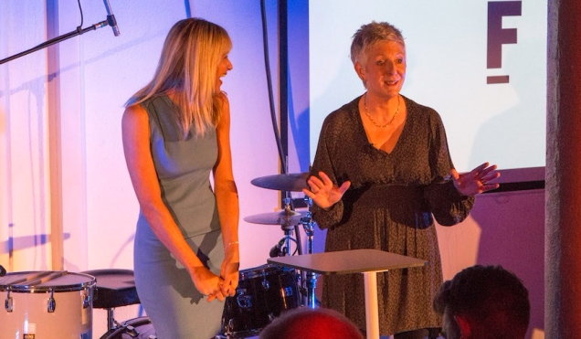 Photograph of technology engagement thought leader Emer Coleman speaking on stage alongside Federation manager Victoria Howlet.