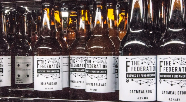 Photograph of specially made Federation beer in bottle that was served at the launch.