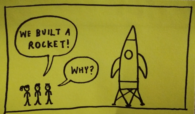 Hand-drawn doodle of 3 people looking at a very impressive rocket. One says: We built a rocket! Another says: Why?