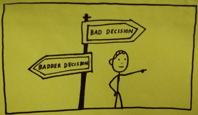Hand-drawn doodle. A man standing in front of a sign post choosing to go in the direction of 'bad decision' rather than 'badder decision'