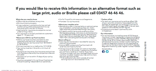 Example of Co-op Insurance communication from June 2018. Shorter copy, less crowded layout, easier to read.