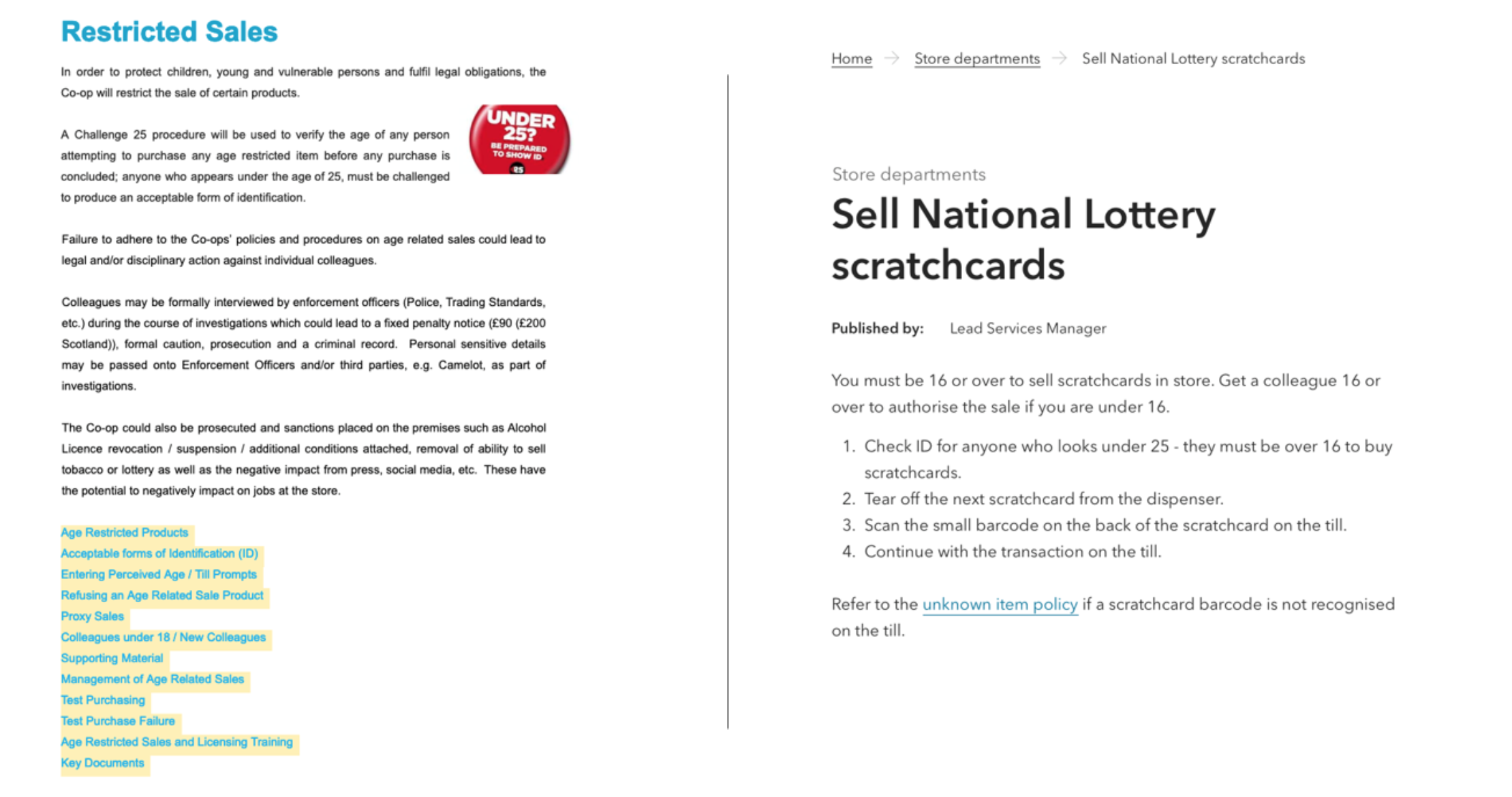 Image is split down the middle. Left hand side shows how information about 'restricted sales' was presented. It's very copy heavy. Right hand side shows how we present it now. Further description in the post copy.