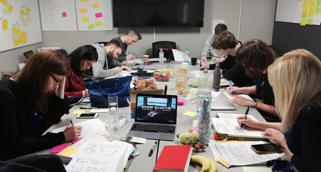 photo of team sketching on day 2