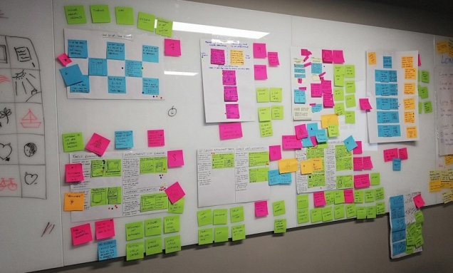 photo of storyboards - lots of post it notes