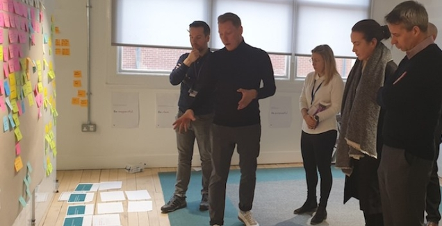 photograph of team standing in front of a white board of post it notes and sheets of paper on the floor listening to tom speaking