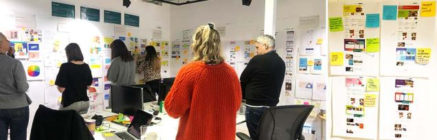 photograph of colleagues from food, insurance and brand were asked to comment on the visual design exploration work