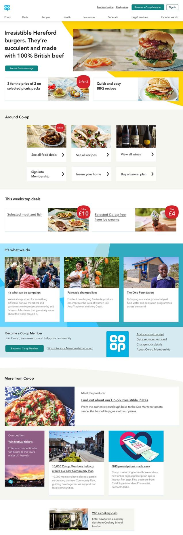 image shows possible new design of the coop.co.uk home page uses cropped 'squircles to highlight and group content.