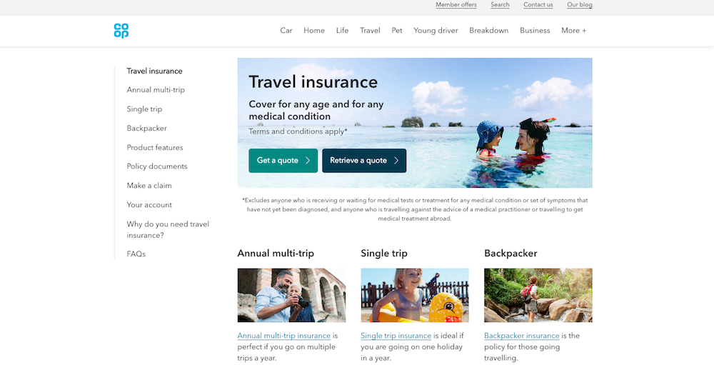 The image shows a screen grab of our homepage below shows 3 insurance products (multi-trip annual, single trip and backpacker). Each has an image, the name of the product with a link that takes them to a more detailed product page, and a line of copy to help the user decide if it's suitable for their needs.