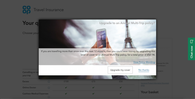 Screen grab show a pop up prompting the user to upgrade to an annual multi-trip policy. the pop up hides much of the content on the webpage.