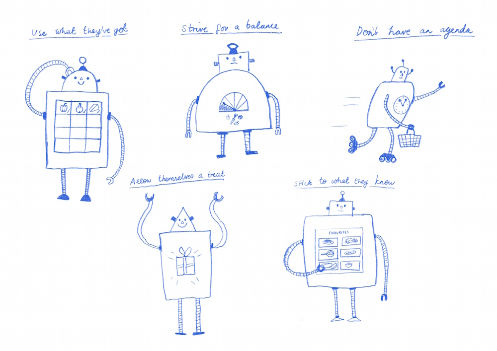 white paper with 5 blue pen hand-drawn robots