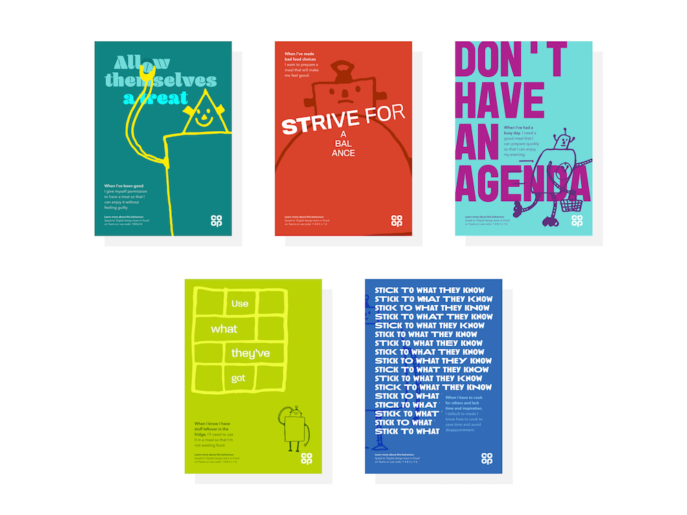 5 posters with bright colours, playful typography and robot doodles not the focus but incorporated.